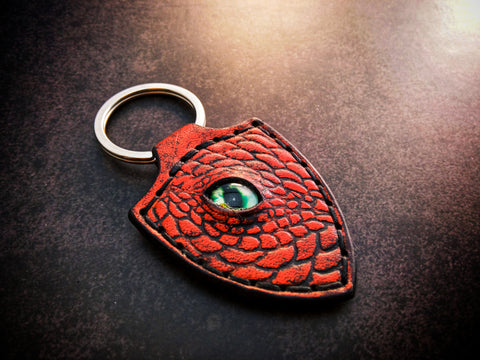 Dragon Keychain Hand Stitched Leather - Red
