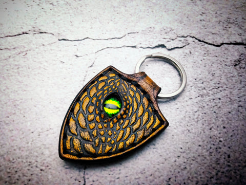 Dragon Keychain Hand Stitched Leather - Yellow