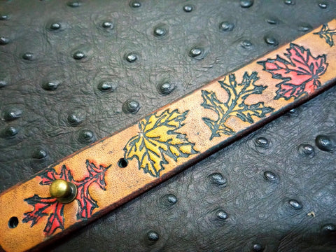 "1"" Autumn Leaf Stamped Leather Bracelet"