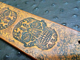 "2"" Sugar Skull Leather Bracelet"