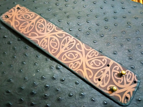 "2"" Thin Laser Engraved Leather Bracelet"