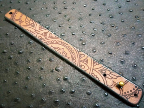 "1"" Laser Engraved Mandala Leather Bracelet"
