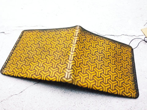 Laser Engraved Japanese Pattern Leather Minimalist Wallet