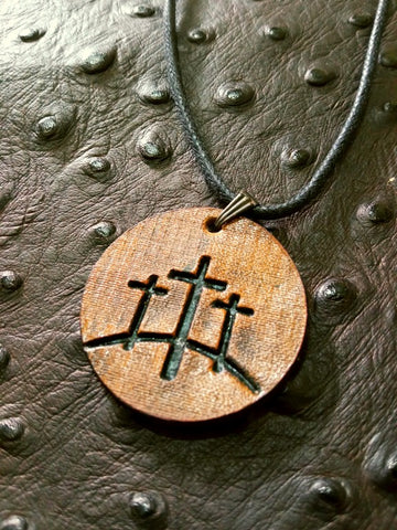 Calvary Cross Leather Necklace