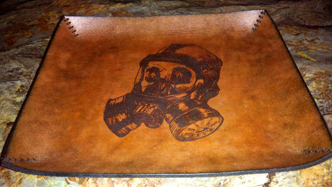 Gas Mask Leather Valet Tray - Large