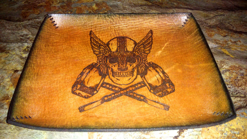 Viking Skull Leather Valet Tray - Large