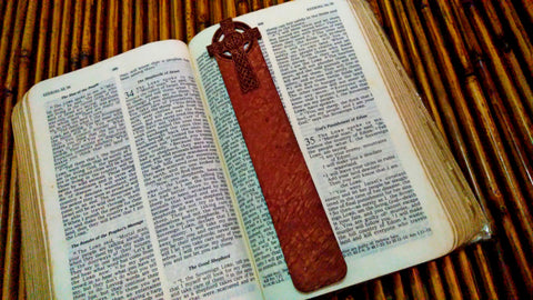 Celtic Cross Stone Washed Leather Bookmark