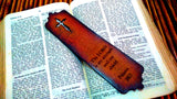 Weathered Cross Psalms 28:7 Leather Bookmark