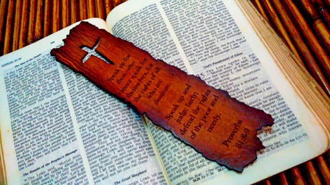 Weathered Cross Proverbs 31:8-9 Leather Bookmark