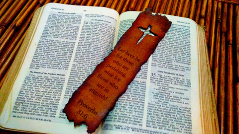 Weathered Cross Proverbs 31:6 Leather Bookmark