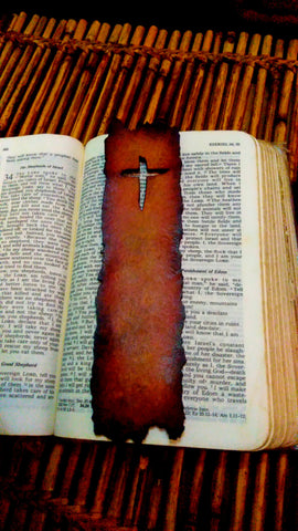 Weathered Cross Leather Bookmark