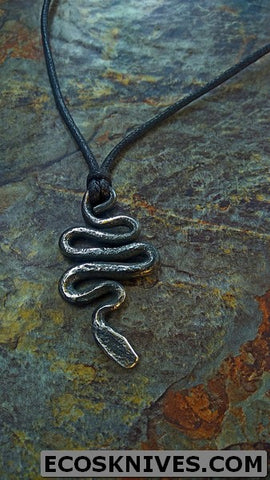 Forged STAINLESS Steel Snake Pendant