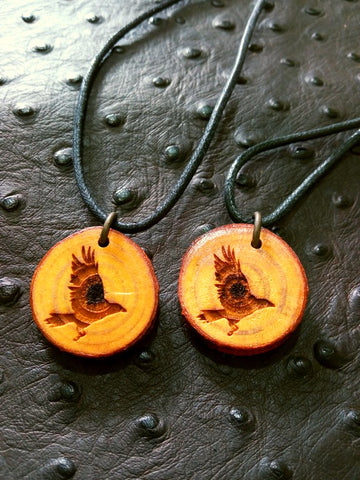 Raven Log Slice Wood Necklace
