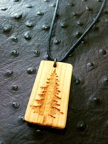 Pine Tree Wood Necklace