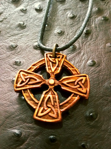 Celtic Knotwork Cross Wood Necklace