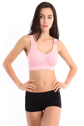 Pink Wireless Sports Bra - waistshaper