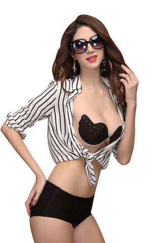 Black Seamless Backless Push Up Bra - waistshaper