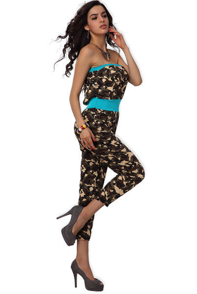 Army Brown Romper - waistshaper