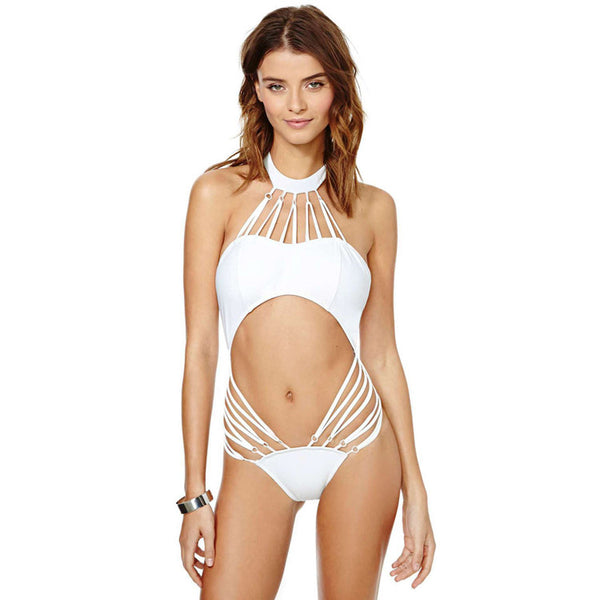 White Halter Neck Backless Bikini - waistshaper