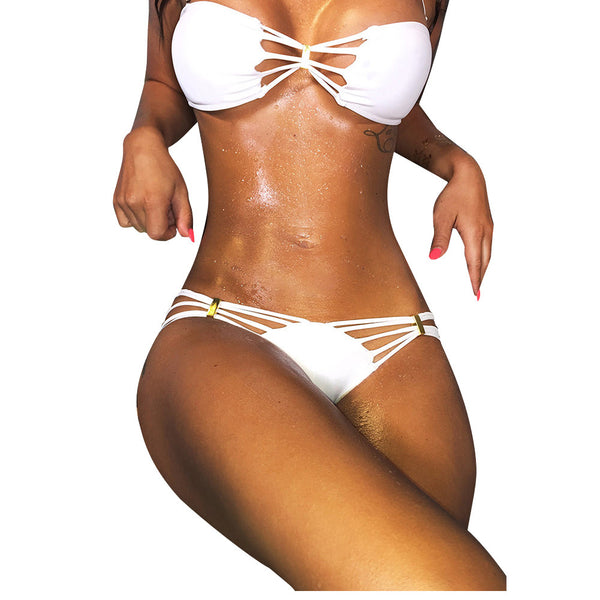 Pure White Hollow Out Brazilian Bikini - waistshaper