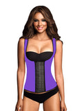 9 Steel Boned Purple Latex Waist Trainer Vest With Straps - waistshaper