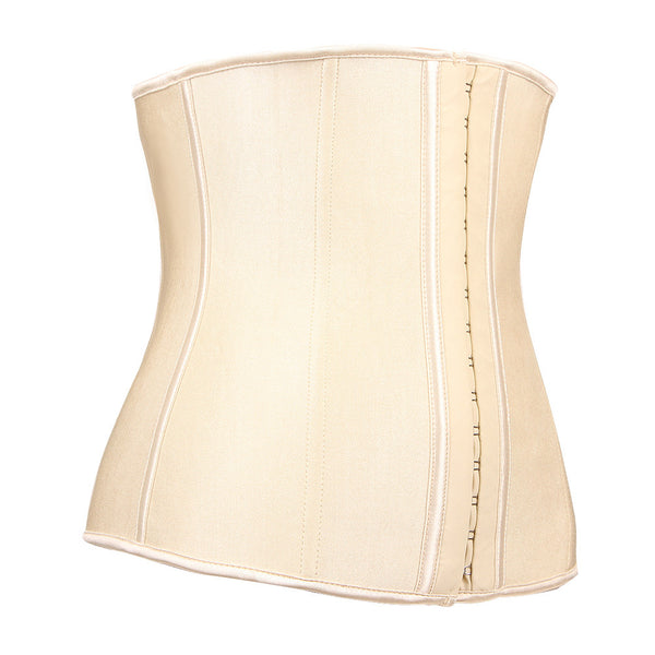9 Steel Boned Nude Latex Waist Trainer - waistshaper