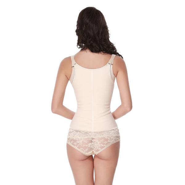 ZIPPER SEMI VEST NUDE LATEX WAIST TRAINER - waistshaper