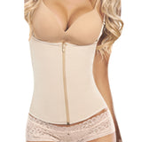 9 STEEL BONED NUDE LATEX ZIPPER SEMI VEST WAIST TRAINER - waistshaper