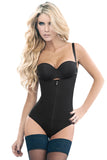 Zipper Front Strapped Body Shaper - waistshaper