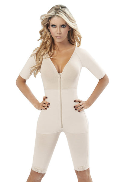 Sofia V-Neck Short Sleeve Body Shaper with Zipper - waistshaper