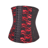 Red Flower Pattern Lace 7 Steel Boned Waist Training Cincher - waistshaper