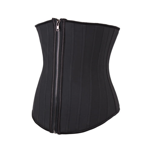 Sexy 25 Steel Boned Latex Zip Up Corset Waist Clincher Sport Trainer - waistshaper