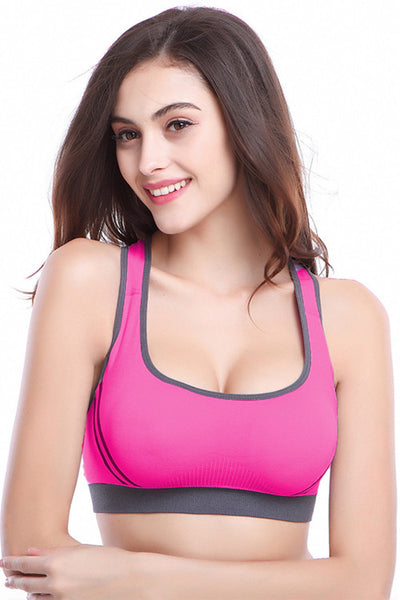 Rose Red Nylon and Spandex Sports Bra