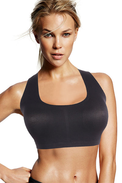 Black Strapped Padded Sports Bra - waistshaper