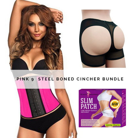 PINK 9  STEEL BONED CINCHER BUNDLE - waistshaper