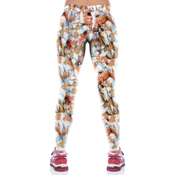 Comfortable Colorful Warrior Printed Sport Leggings - waistshaper