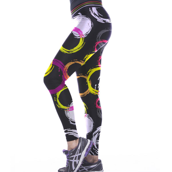 Colorful Circle Scrawled Printed Leggings Sport Fitness - waistshaper