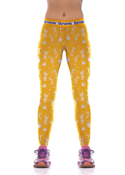 Bright Yellow Color Carafe Custom Printed Leggings - waistshaper
