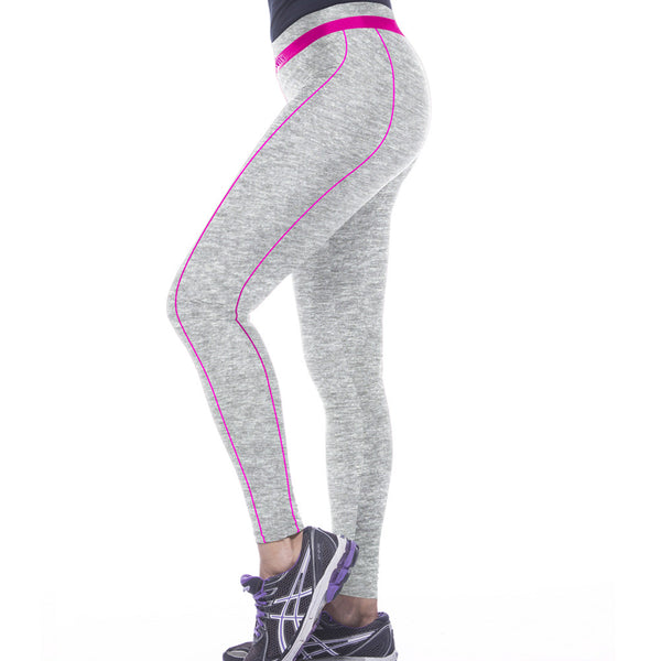 Silver Color Verticle Pink Line Comfortable Printing Leggings Yoga Pants