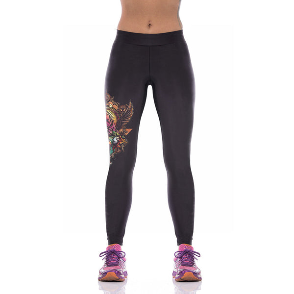Black Fashionable Fancy Pattern Printed Yoga Leggings - waistshaper