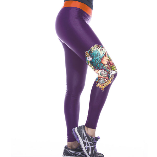 Newly Ladies Purple Printed Gym Leggings - waistshaper