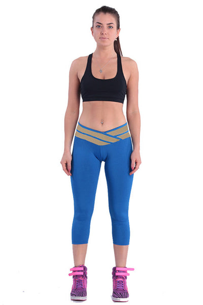 Women's Blue Athletic Leggings - waistshaper