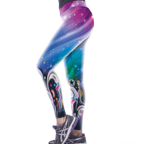 Galaxy Based Beautiful Pattern Printed Leggings - waistshaper