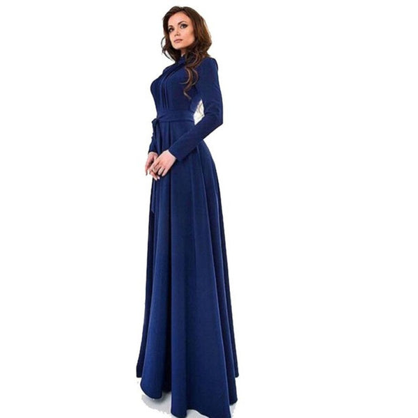 Dress Solid Dark Blue Long Sleeves Slim Maxi Dress - waistshaper