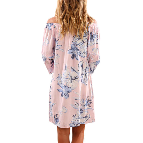 Off Shoulder Dress Butterfly Long Sleeve Mini Dress - waistshaper