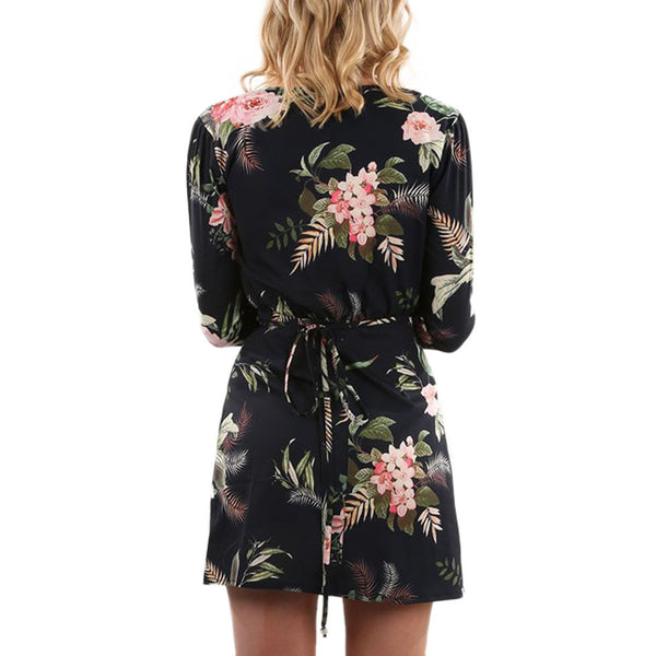 Flora Printed Autumn Deep V Collar Dress - waistshaper