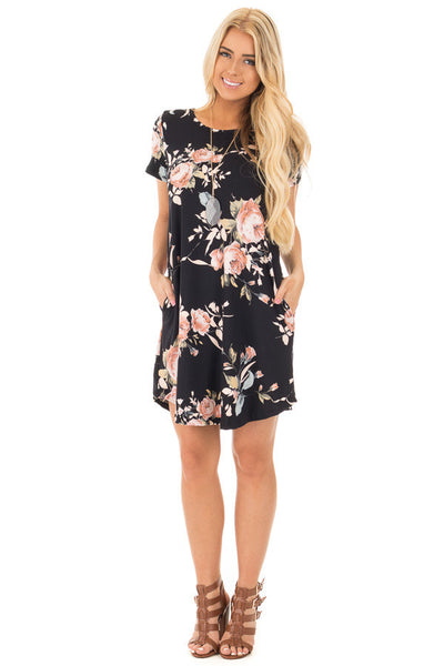 Women's Short Mini Dress Round Neck Floral Printing Dress