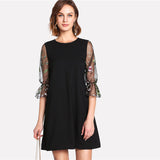Round Neck Flare Sleeve Casual Dress - waistshaper