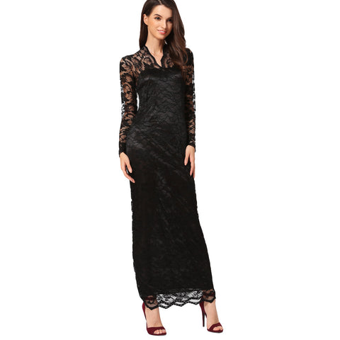 Lace Women Maxi Dress Long Sleeve - waistshaper