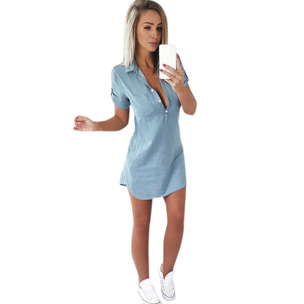 Women Short Sleeve Dress Solid Denim Dress Turn Down Collar Mini Dress